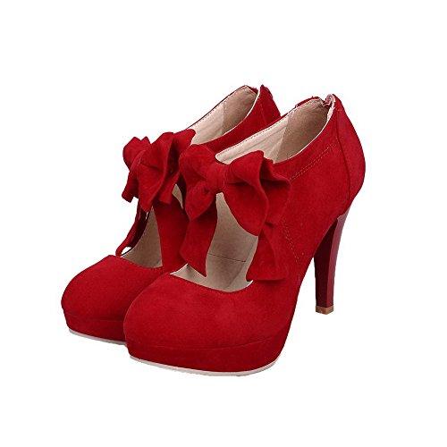 Weenfashion Punainen Toe Pyöreä Pu Naisten Pumput Korkokengät Vankka kengät Vedä Suljettu UwUTqr