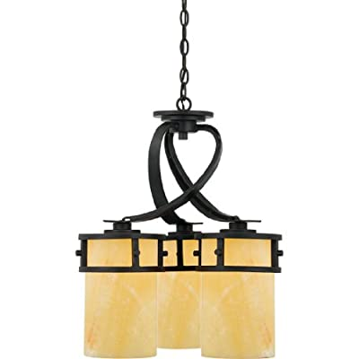 "Quoizel KY5103IB Kyle Faux Alabaster Downlight Mini Chandelier, 3-Light, 300 Watts, Imperial Bronze (22"" H x 20"" W) - KYLE DINETTE CHANDELIER DIMENSIONS: 22"" High (83.5"" Max Adjustable Height) x 20"" Wide, Weight: 27 LBS, Ceiling Canopy: 5.5"" Dia MEDIUM BASE LIGHT SOCKET: 3-100 Watt A19-Type Incandescent Bulbs, 300 Total Watts, Does Not Include Bulb(s); E26 Socket Compatible with Incandescent, CFL, Halogen or LED Bulbs Full Range Dimming when used with Dimmable Bulb and Dimmer Switch INSTALLATION: (1) 48"" Chain and Hardware to Mount Fixture to an Existing Junction Box Included (Junction Box Not Included), Installable on Sloped Ceiling - kitchen-dining-room-decor, kitchen-dining-room, chandeliers-lighting - 41FQVoVLJ5L. SS400  -"