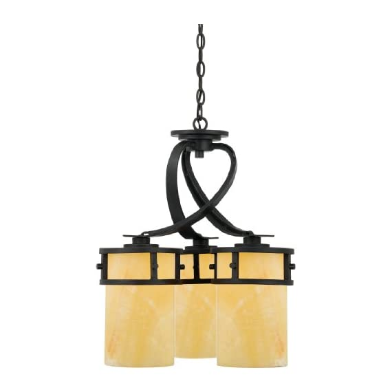 """Quoizel KY5103IB Kyle Faux Alabaster Downlight Mini Chandelier, 3-Light, 300 Watts, Imperial Bronze (22"""" H x 20"""" W) - KYLE DINETTE CHANDELIER DIMENSIONS: 22"""" High (83.5"""" Max Adjustable Height) x 20"""" Wide, Weight: 27 LBS, Ceiling Canopy: 5.5"""" Dia MEDIUM BASE LIGHT SOCKET: 3-100 Watt A19-Type Incandescent Bulbs, 300 Total Watts, Does Not Include Bulb(s); E26 Socket Compatible with Incandescent, CFL, Halogen or LED Bulbs Full Range Dimming when used with Dimmable Bulb and Dimmer Switch INSTALLATION: (1) 48"""" Chain and Hardware to Mount Fixture to an Existing Junction Box Included (Junction Box Not Included), Installable on Sloped Ceiling - kitchen-dining-room-decor, kitchen-dining-room, chandeliers-lighting - 41FQVoVLJ5L. SS570  -"""