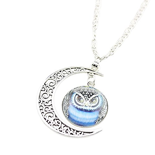 [FOY-MALL Fashion Owl Pattern Crescent Moon and Time Gem Pendant Necklace XL1244] (Lobster Claw Costume Pattern)