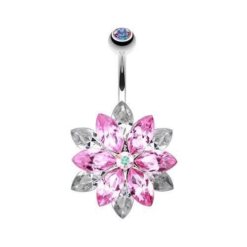 Classic Marquis Lotus 316L Surgical Steel WildKlass Belly Button Ring (Pink/Clear)