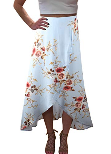 Yonala Womens Boho Floral Tie Up Waist Summer Beach Wrap Cover Up Maxi Skirt (S, Light Blue)