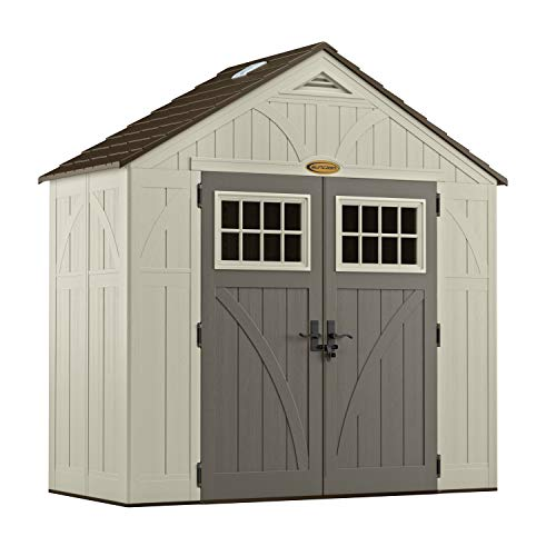 Cheap Suncast 4' x 8' Tremont Storage Shed with Windows - Natural Wood-Like Outdoor Storage for Power Equipment and Yard Tools - All-Weather Resin Material, Skylights and Shingle Style Roof suncast shed