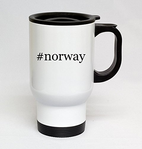 #norway - 14oz Sturdy Hashtag Stainless Steel Travel Mug, White