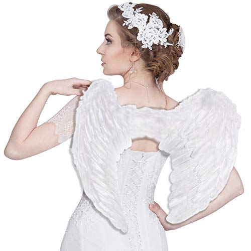 (Angel Wings and Halo, Angel Costume, White Feather Wing, Cosplay Accessories Christmas Wings for Adult Women Kids)