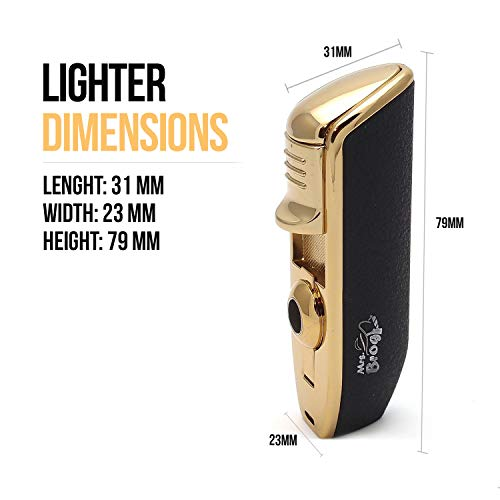 Mrs. Brog Triple Torch Cigar Lighter with Built in Cigar Punch - 3 Adjustable Jet Flames - Ergonomic Grip - Gift Accessory Cutter Wind Proof