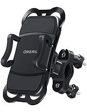 OMERIL Handyhalterung Fahrrad Anti-Shake Motorrad Handyhalter Universal 360° Drehbare Abziehbare Halterung Seitlich Kippen Halterung Fahrrad für Huawei, Samsung, iPhone & 3,5-6,5 Zoll Smartphone GPS