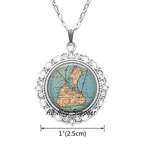 AllMapsupplier Fashion Necklace,Block Island map Necklace,Block Island Necklace,Block Island map Pendant,Block Island Pendant,A0284 (1)