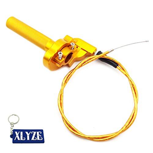 XLYZE Gold 1/4 Turn CNC Aluminum Twist Throttle Cable Assembly For Yamaha TTR 50 110 125 YZ250 Atomik Thumpstar CRF50 KLX Pit Dirt Bike