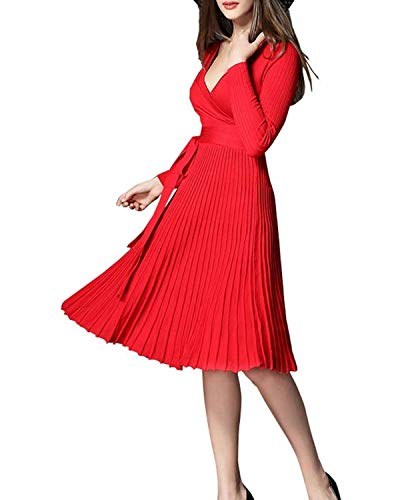 - Winter Dress Womens Spring Sexy V-Neck Long Sleeve Wrap Dresses Elegant Belted Midi Solid Knit Sweater with Ruffle (One Size, Red)