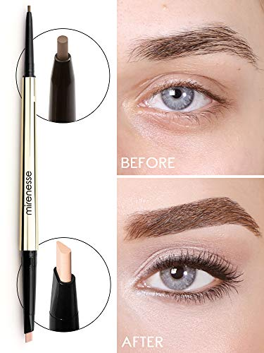 Mirenesse All Day Micro Brow Pencil & Definer Crayon, Brow Liner and Highlighter in One with Long Lasting Color, High Precision and Definition, Toxin Free, 2 Silk Brown .012 oz