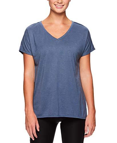 Reebok Women's V Neck Workout & Gym T Shirt - Short Sleeve Activewear Top - Bering Sea, Small