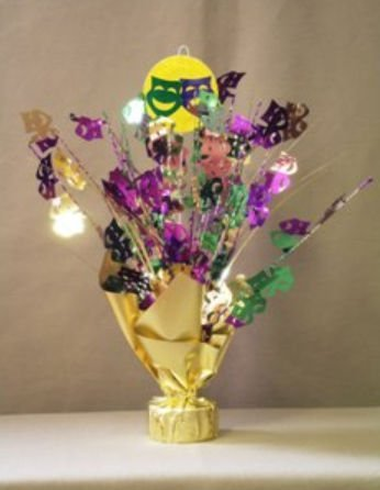 Party Deco 26132 Balloon Weight Centerpiece - Gold Comedy-Tragedy Faces - Pack of (Mardi Gras Center Pieces)