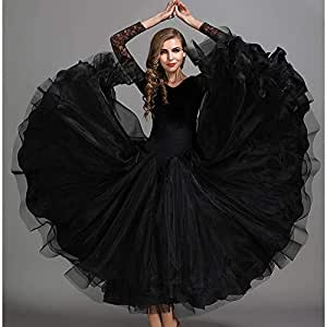 Amazon.com : Autumn Winter Classic Dance Dress Black Velvet ...