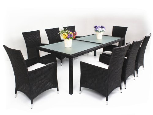 9-Piece Luxury Wicker Patio Indoor Outdoor Dinner Table Furniture set