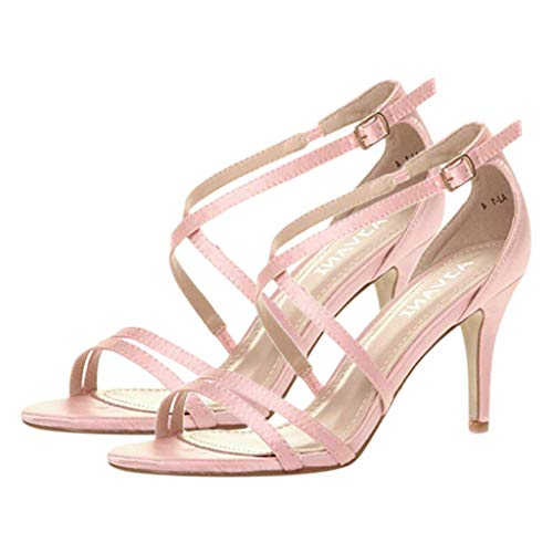 Cenglings Women's Sexy Pointed Toe High Stiletto Heel Pumps Strappy Party Wedding Sandals Nightclub Ankle Strap Shoes Pink