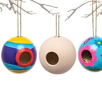 Christmas Birdhouses Crafts.Baker Ross Ceramic Round Bird Houses Box Of 2 Spring
