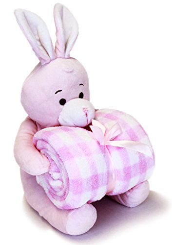 Baby Gift – Baby Blanket + Toy Bunny Set – Perfect Baby Gift from Little Grape Land (Pink plaid)