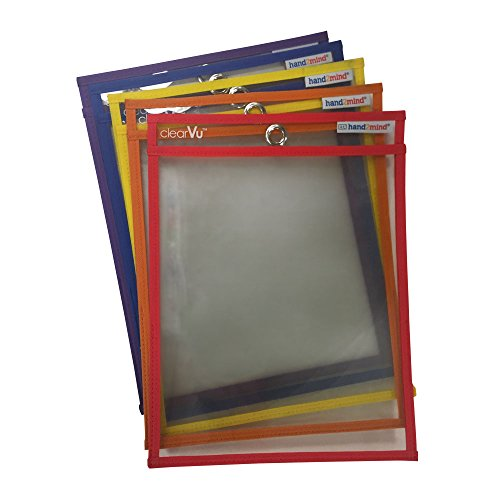 ETA hand2mind Reusable Dry Erase Pockets, Assorted Colors (Pack of 5)