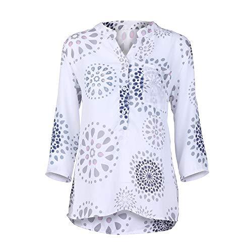 AIMEE7 Blouse Lache Size Haut Manches V Femme Blanc 4 Imprimer Tops Chemisier 3 Col Plus rfpvr8