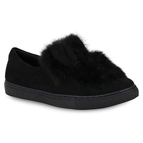 Stiefelparadies Gefütterte Damen Stiefeletten Outdoor Boots Fell Stiefel Flandell Schwarz Carlet