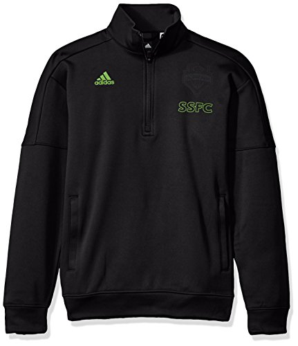 adidas MLS Seattle Sounders FC Adult Men Letterman Team Issued 1/4 Zip Pullover, X-Large, Black