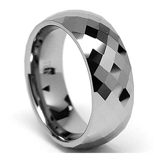 King Will Men's 8MM Multi Faceted Tungsten Carbide Ring Polished Wedding Engagement Band (12)