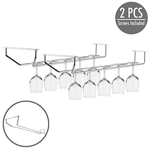 2 pcs Under Cabinet Wine Glass Stemware Holder Single Row 17 inch - Durable Chrome Stainless Steel Rack Wine Glasses Storage Organizer with Screws Included for Effortless to Install – (Single Wine Rack)
