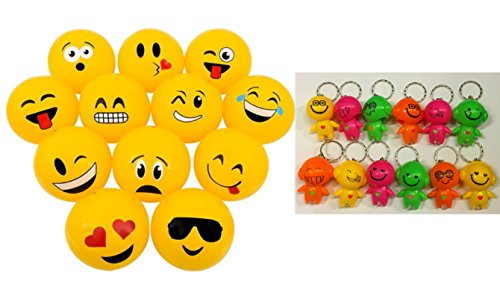DISCOUNT PARTY AND NOVELTY Lot of 24 Mini Emoticon Beach Balls and 6 Bright Emoji Emoticon Bobblehead Mini Flashlight Keychains Bundle TM