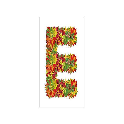 3D Decorative Film Privacy Window Film No Glue,Letter E,Chestnut Maple Leaves Natural Oak Petals Vibrant Colors E Symbol Print,Vermilion Yellow Green,for Home&Office