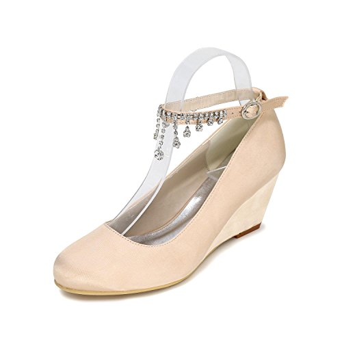 Close Wedding Customization YC Toe Color Multi Champagne L Tie High 9140 Shoes Wedge 05 Heeled Women Shoes qPAxnwCp