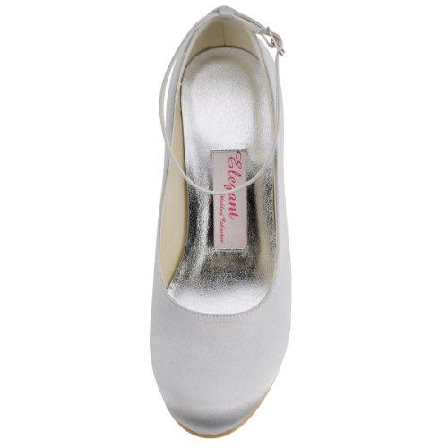 Elegantpark - Zapatos de Vestir de satén Mujer Blanco - plata