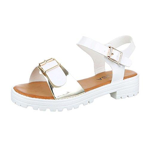 Ital-Design Komfortsandalen Damen Schuhe Römersandalen Blockabsatz Leichte Schnalle Sandalen/Sandaletten Weiß Gold
