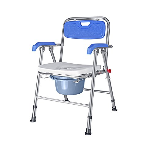 Toilet - Free Assembly Lift Chair, Portable Bath Seat, Adjustable Shower Bench, White Bathtub Lift Chair with Arms Folding Bedside Commode Seat with Commode Bucket and Splash Guard Commodes