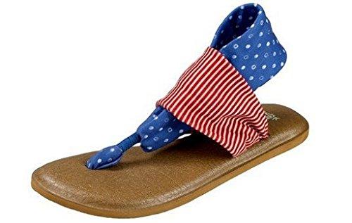 Sanuk Women's Yoga Sling 2 Prints Patriot Sandals America Dots/Stripes - Womens Sandals Dots