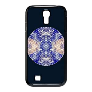 Samsung Galaxy S4 9500 Cell Phone Case Black flower of life blue EJI Unique Design Phone Case