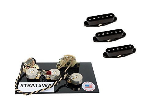 DiMarzio True Velvet Pickup Set, Black for Fender Stratocaster + Wiring Harness