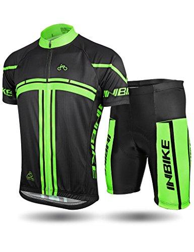 INBIKE Men's Cycling Jersey Set Short Sleeve Bike Shirt Gel Padded Shorts for Summer Black X-Large
