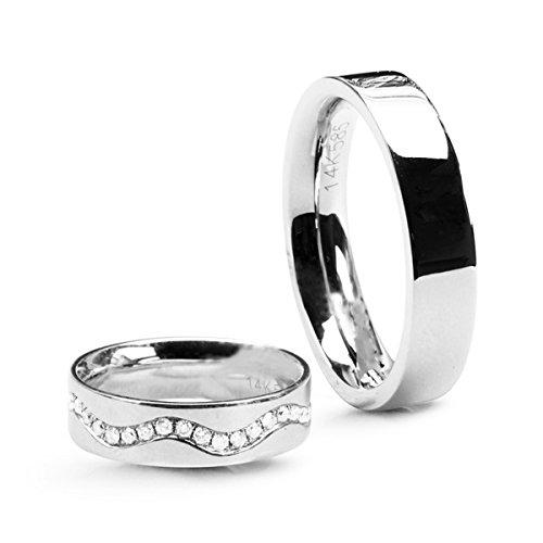 14ct anillo de bodas. Oro blanco de 0,585. Anchura 5 millimeter. Precio y