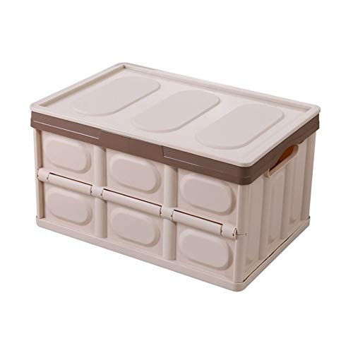 Impr3.Tree Collapsible Storage Bin Container Solid Wall Utility Basket Tote Folding Finishing box Car General Purpose Storage Racks With Lid (Beige)