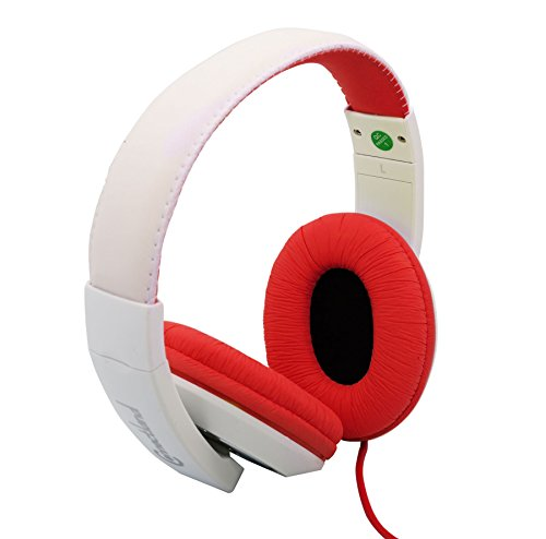Connectland Over Ear 3.5mm Wired Headphone, Microphone Lightweight Adjustable Headband for Kids,Teens,Adults. iPhone iPad Tablet, Red&White CL-AUD63080