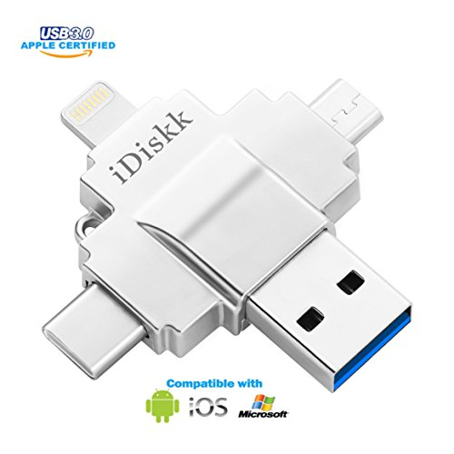 Apple Certified iPhone flash drive for iPad USB 3.0 lightning external storage for iOS devices,type c mobile phones,most Android devices,cameras,laptops and computers iDiskk brand 32GB Photo Laptop