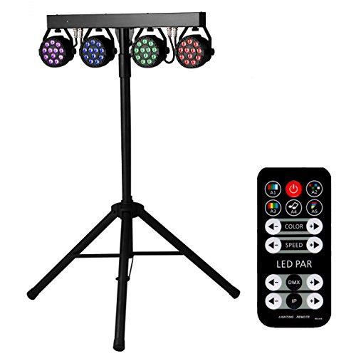 Eyourlife 4 x 12 PCS LED Par Cans DJ Bar Gig lighting RGBW Par Lights Sets with Triangular Stand Black by Eyourlife