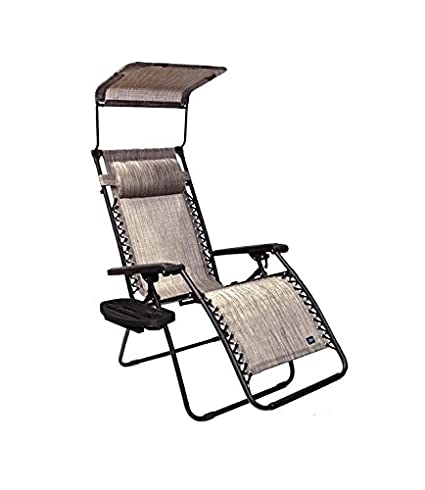 Bliss Hammocks Zero Gravity Chair With Canopy And Side Tray, Platinum Gray,  26u0026quot;