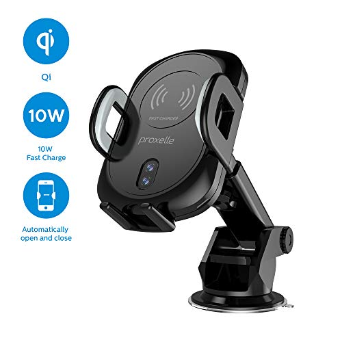 Wireless Charging Car Mount with Automatic Clamps, Quick Charge 3.0 USB Car Charger, Air Vent and Dashboard Cell Phone Holder for iPhone X, 8/8 Plus, Samsung Galaxy Note 9/8, S10/S9, [PX10]