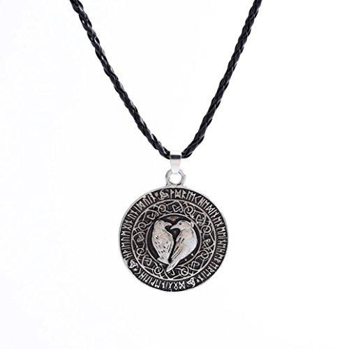 Necklace for Men ,Norse Viking Pendant Necklace Valknut Raven Pendant Runa Talisman Amulet Nordic Knot Pendant Necklace (A3)