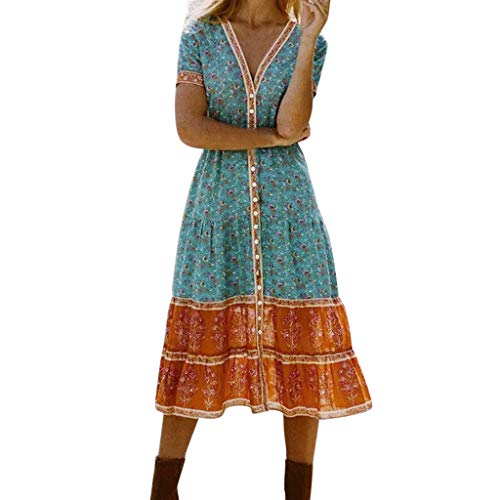 Wokasun.♪♪Women Bohemian Print Summer Long Maxi V-Neck Boho Evening Party Beach Dress Autumn Beach Casual Midi Dress(Green,M)