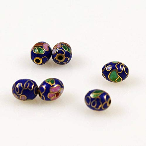 (World's Natural Treasures - Cloisonne Cobalt Blue Oval Beads Chinese 9 x 7mm (12) Vintage)