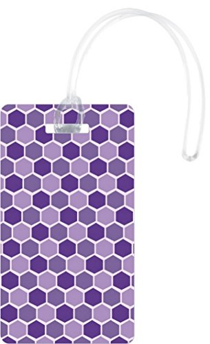 Rikki Knight Plum Purple Lilac Mauve Stained Glass Flexi Luggage Tags, (Glass Luggage Tag)