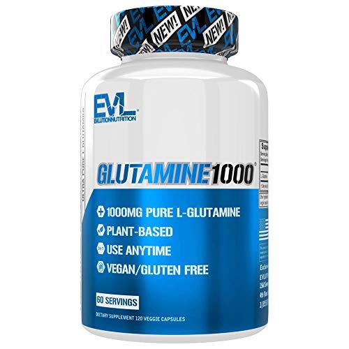 Evlution Nutrition L-Glutamine 1000, 1g Pure L Glutamine Per Serving, Post Workout, Nitrogen Transporter, Immune Support, Vegan, Gluten-Free, Veggie Capsules (60 Servings)